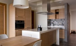 kitchens with wood doors with flat panel design with joints and square edges.